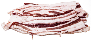 Uncured, Sliced 1 lb Pork Belly $5.39lb